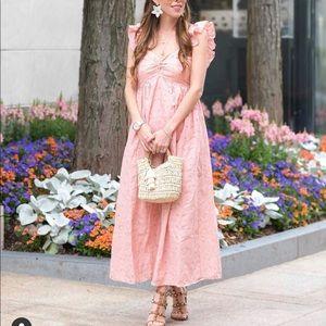 Pink eyelet maxi dress with ruffle shoulder